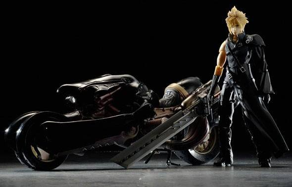 Final Fantasy VII 7 Advent Children XV Cloud Strife Play Arts Kai Fenrir Motor Bike Harley CIB
