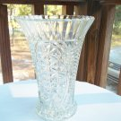LARGE VINTAGE PRESSED GLASS STARS AND BARS VASE