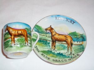 KENTUCKY COLLECTIBLE DEMITASSE CUP AND SAUCER, made in Japan