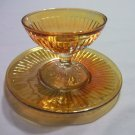 Vintage Round Robin Iridescent Sherbet and Matching Saucer