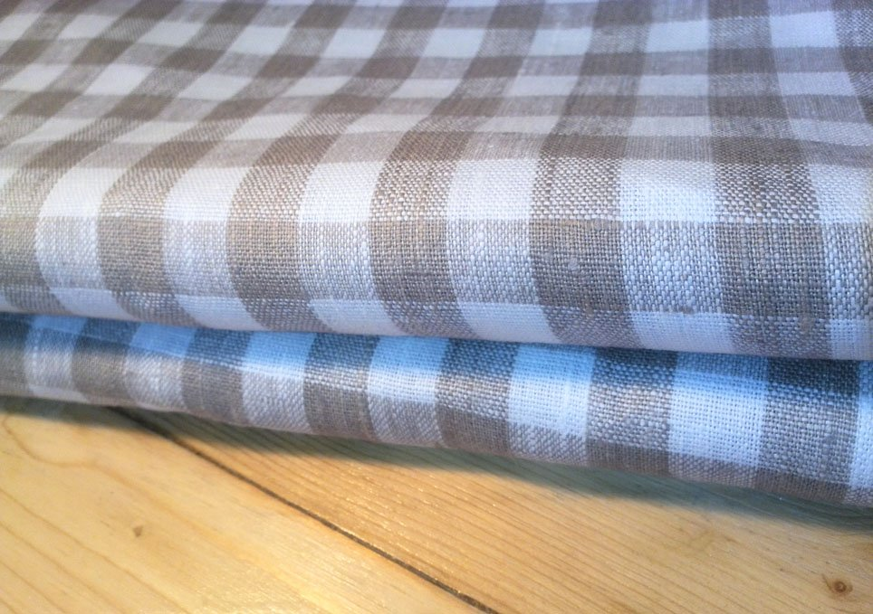 Tablecloth fabric 100% linen color Natural product organic Checkered cloth 1 yard