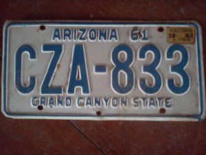 1961 ARIZONA LICENSE PLATE