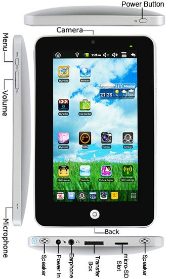 Freeshipping 7Inch Android 2.2 ePad WiFi 256MB Flash Camera Tablet
