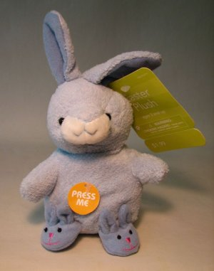 Plush 5 inch blue Bunny with Slippers