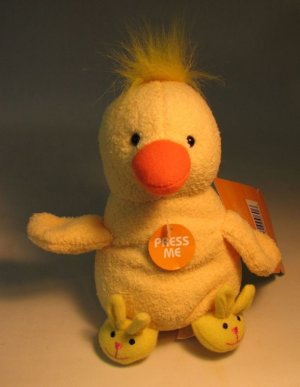 Easter Plush 5 inch yellow Chick with Slippers