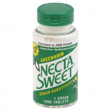 2 1000-Tablet Bottles 1 Grain NectaSweet Saccharin Tablets Necta Sweet