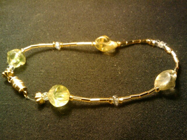 """handcrafted 9 1/2"""" gold tone fashion anklet"""