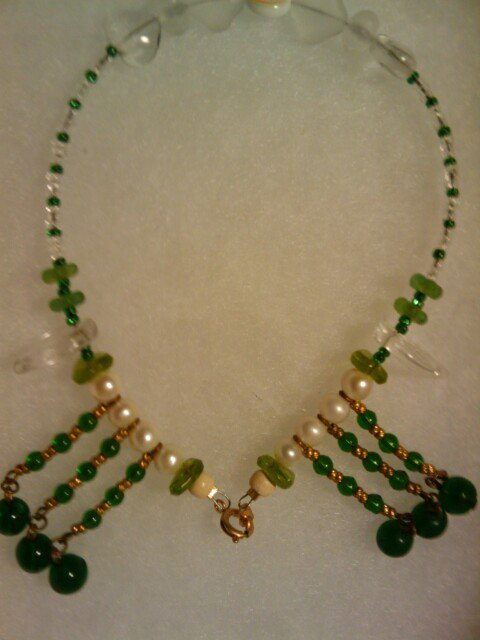 """Unique handcrafted 11"""" 1 of a kind  emerald green fashion anklet"""