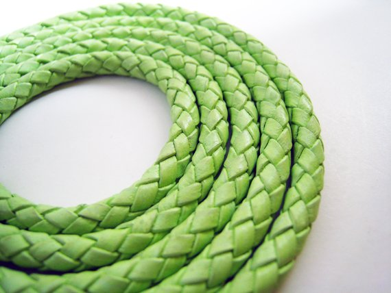 1 Meter ( 1 Yard ) of 6mm Light Fern ( Green ) Round Braided Bolo Leather Cord
