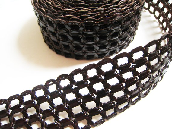 1 Meter ( 1 Yard ) of 50mm Deep Brown Flat Leather Like Cord