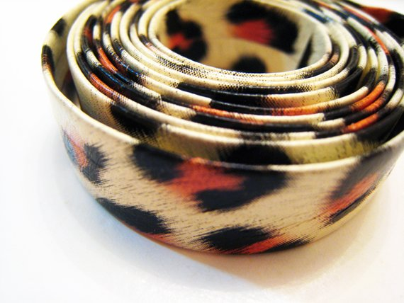 1 Meter ( 1 Yard ) of 13mm Leopard Line ( Cream Black Orange ) Flat Leather Like Cord