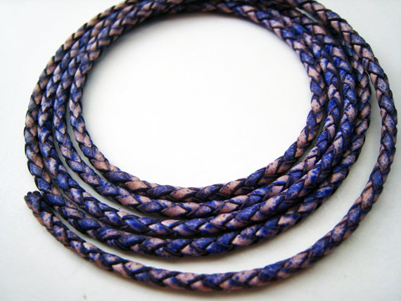 1 Meter ( 1 Yard ) of 2.5mm Antique Violet ( Purple ) Round Braided Bolo Leather Cord
