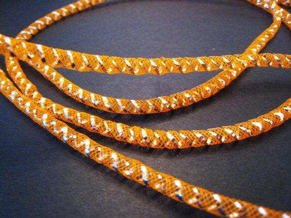 1 Yard of Orange Horsehair ( Crin) Tube Crinoline for Hair Accessories ( 5mm Width )