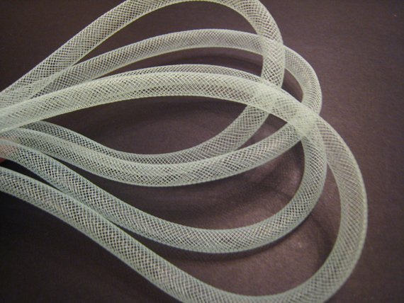 1 Yard of Light Green Horsehair ( Crin) Tube Crinoline for Hair Accessories ( 7mm Width )