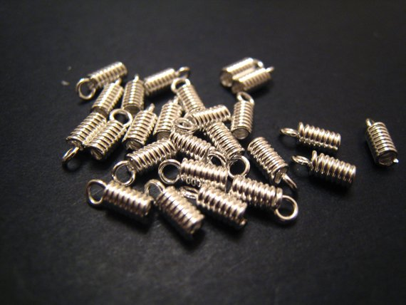 40 pcs Silver Leather Crimps Nickel Tone Fold Over Cord Ends For Leather 7mm x 2mm