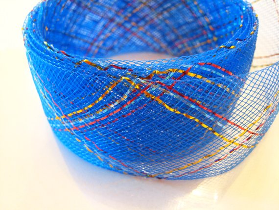 Blue Horsehair with Red and Gold Line for Hair Accessories Flower Stand Decoration