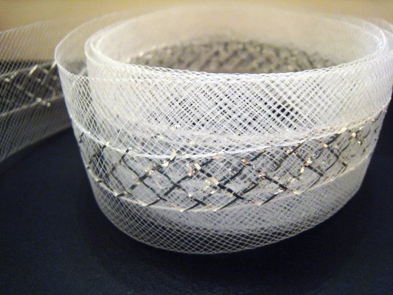 1 Yard of White with Silver Colour Horsehair Braid Crinoline