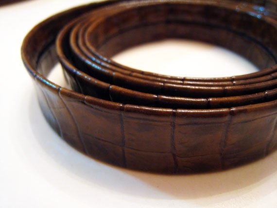 1 Yard of 20mm Leopard Line (Shinny Brown ) Lace Strap Genuine Flat Leather Like Cord