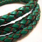 1 Yard of 8mm Green Round Braided Bolo Leather Cord
