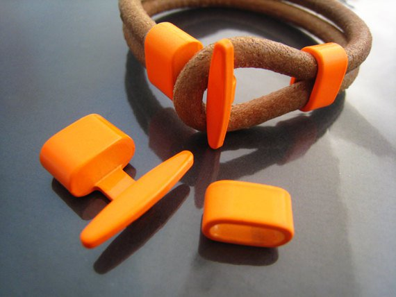 1 Set Neon Orange Metal T-Bar Hook Loop Clasp Buckle Toggle End Cap