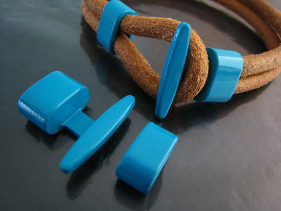 1 Set Turquoise Blue Metal T-Bar Hook Loop Clasp Buckle Toggle End Cap
