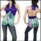 Purple and Green Halter blouse SMALL - MEDIUM - LARGE