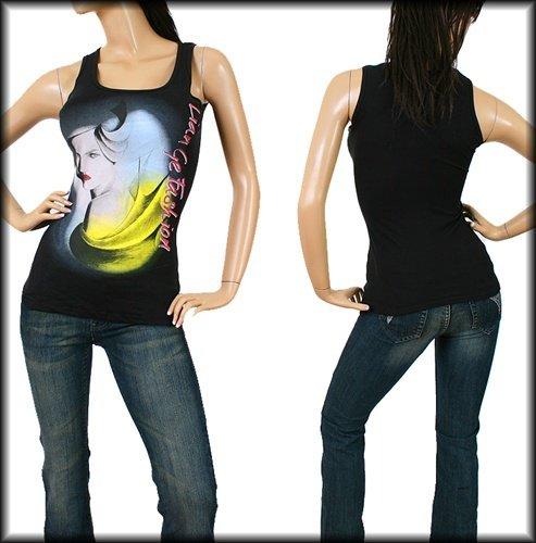 Black Fashion Print Round Neck Tank Top SMALL - MEDIUM - LARGE