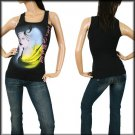 Black Fashion Print Round Neck Tank Top SMALL - MEDIUM - LARGE