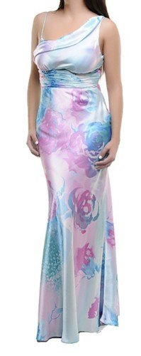 AquaPink Satin One Strap Dress with Floral Print SMALL - MEDIUM - LARGE