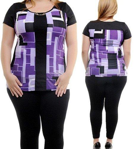 Plus Black and Purple Abstract Print Blouse 1XL, 2XL, 3XL