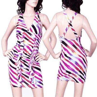Striped Mini Dress with Ruffled V-Neck 1XL, 2XL, 3XL