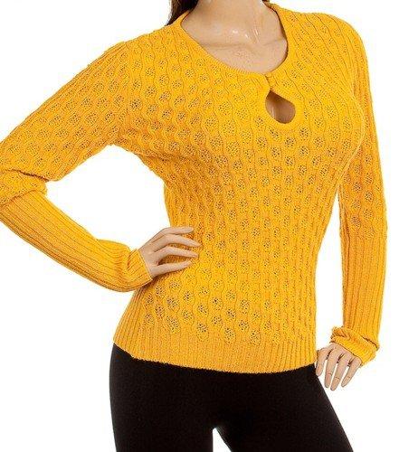 Mustard Peep-Hole Knit Sweater LARGE - XLARGE