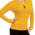 Mustard Peep-Hole Knit Sweater LARGE - XLARGE