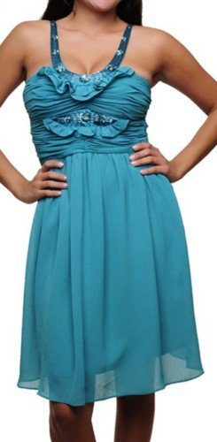 Turquoise Sequined Knee Length Halter Dress SMALL- MEDIUM - LARGE