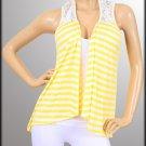 Plus Yellow Striped Sleeveless Blouse - 1XL, 2XL, 3XL