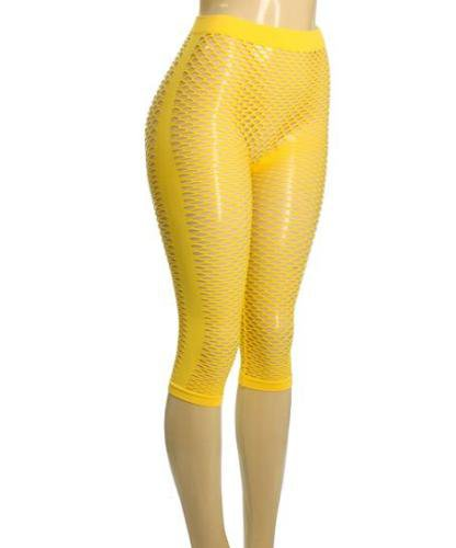 Yellow Fishnet Leggings ONE SIZE FITS ALL