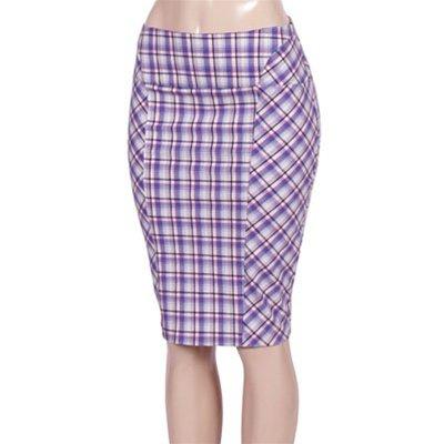Plaid Pencil Knee Length Skirt MEDIUM - LARGE