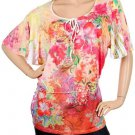Plus Pink Floral Print Blouse with Scooped Neck 1XL - 2XL - 3XL
