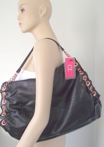 Black Large Handbag with Copper Tone Embroidery