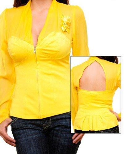 Yellow Long Sleeve Blouse SMALL, MEDIUM, LARGE