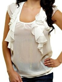 White Blouse with Ruffle Detail SMALL, MEDIUM, LARGE
