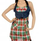 Checkered Tunic with Denim Vest SMALL, MEDIUM, LARGE