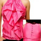 Fuchsia Blouse with Ruffles SMALL, MEDIUM