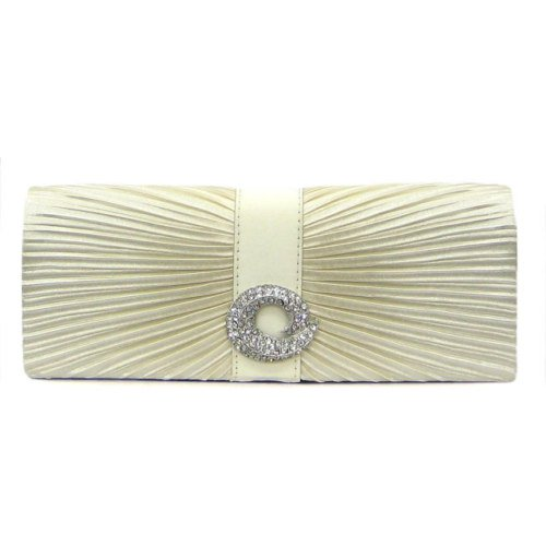 Beige Coloured Clutch with Front Gathers and Accents