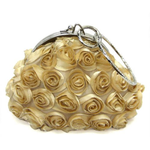 Gold Coloured Rose inspired evening bag w/ chain strap