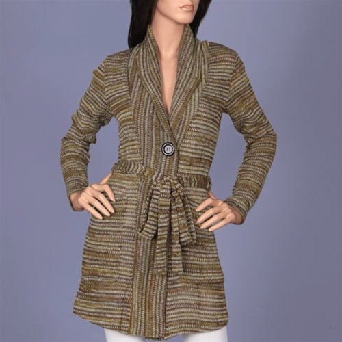 Olive Striped Long Sleeve Cardigan SMALL, MEDIUM, LARGE