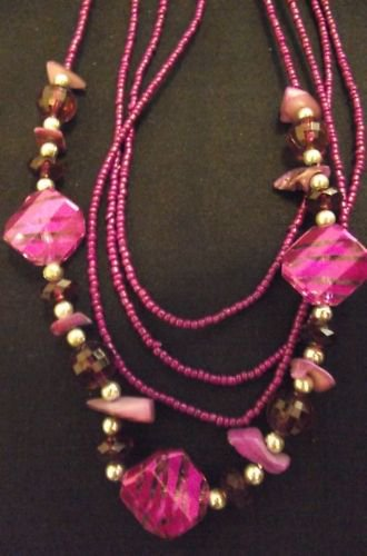 Pink Beaded Necklace with Various Stringed Beads Set