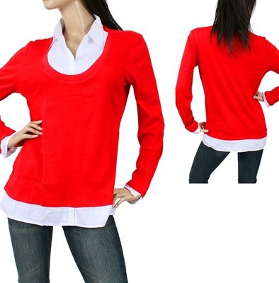 Red 2in1 Shirt and Sweater - 1XL, 2XL, 3XL