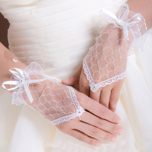 White Wrist Length Lace Embroidered Bridal Gloves