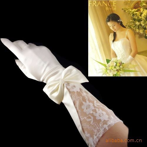 New Satin and Lace Embroidered Bridal Gloves